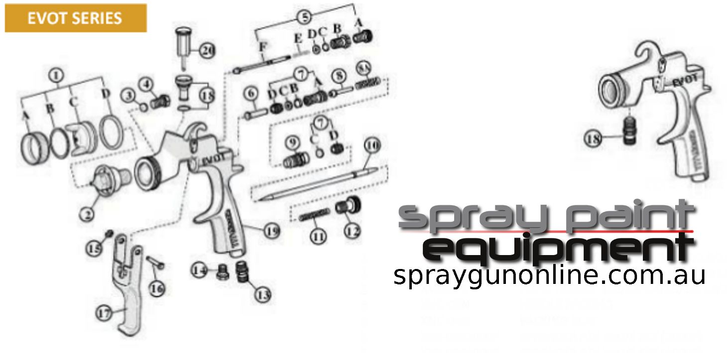 Spare Parts schematic Star EVOT Series 2000 4000 spray guns