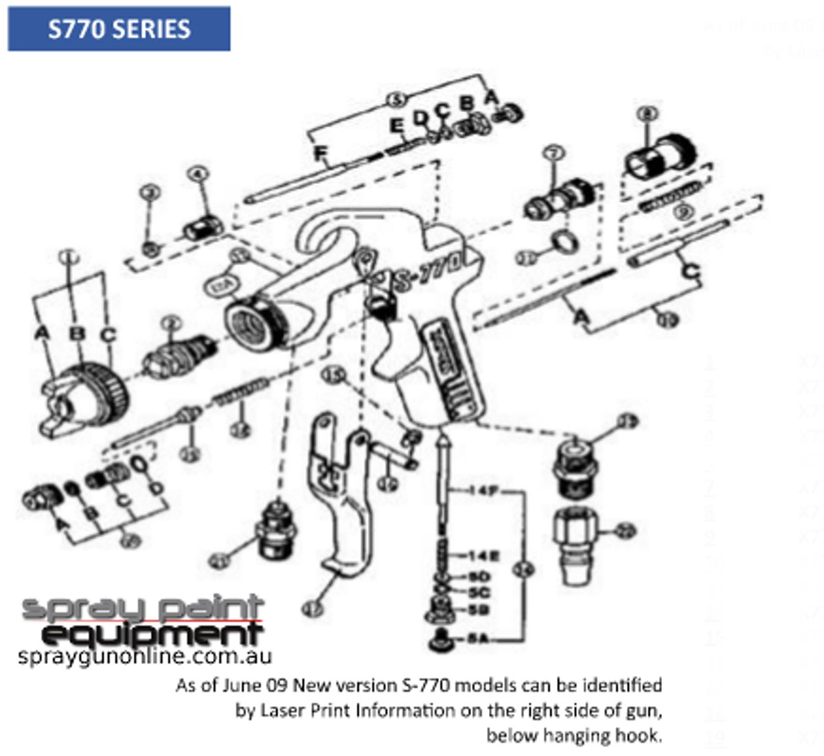 Spare poarts schematic for Star S770 spray guns