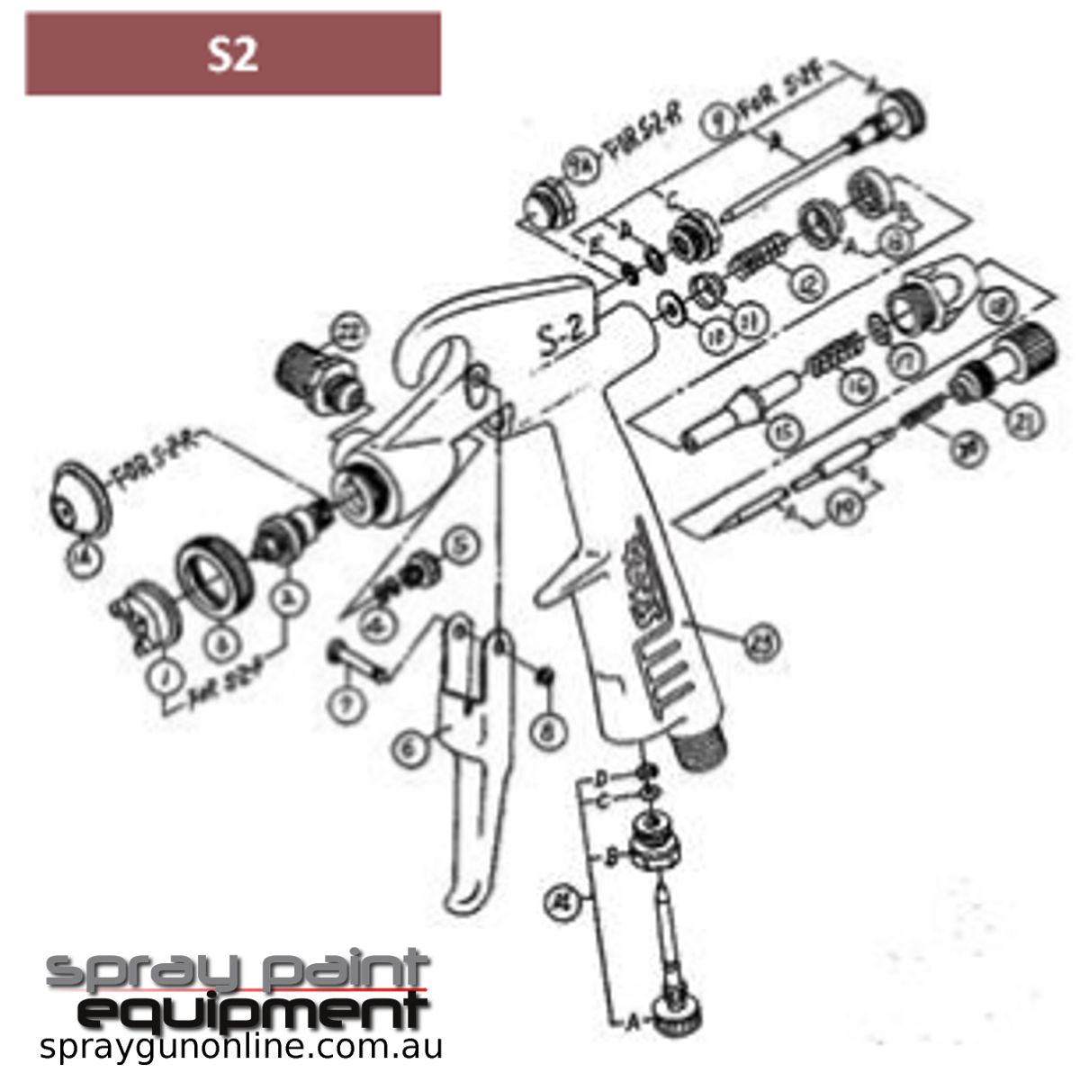 Spare parts schematic for Star S2 Mini gravity touch up spray guns