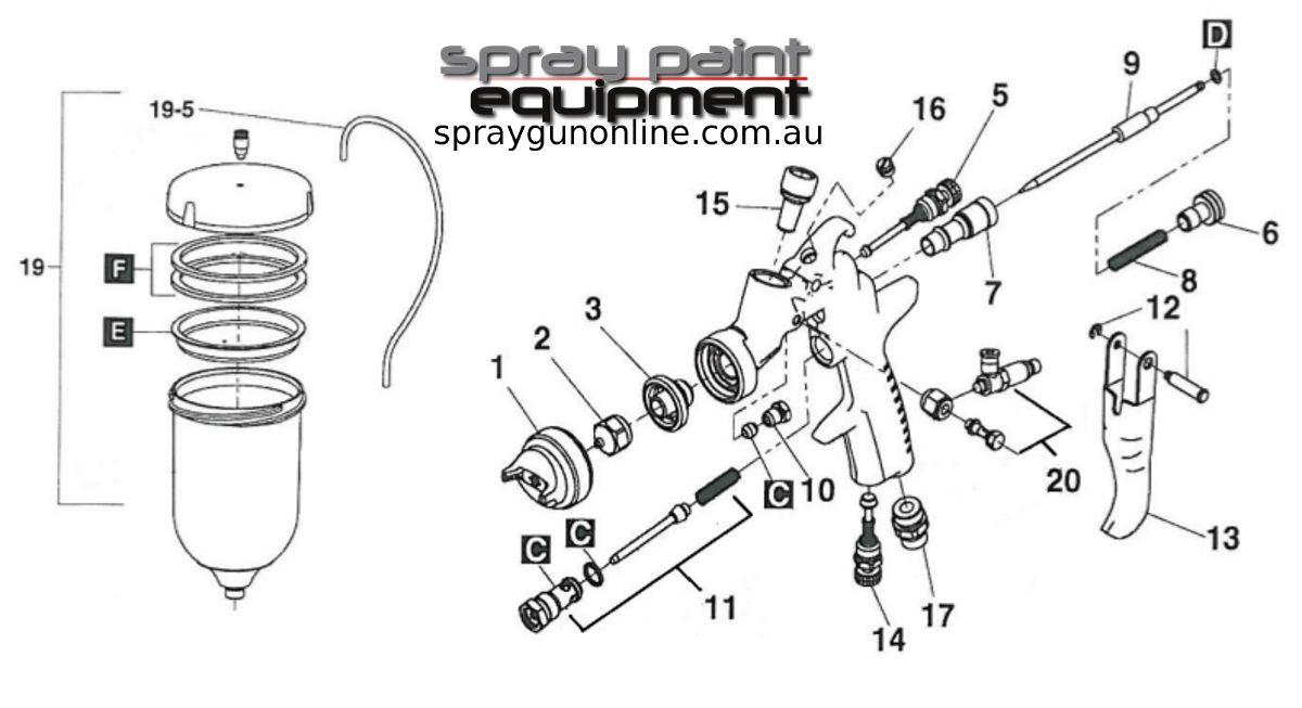 Spare parts schematic drawing for Air Gunsa AZ3HTE2 PAS Pressurised Gravity Pot Spray Guns