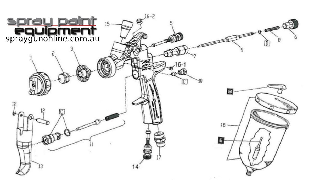 Spare parts schematic drawing for Air Gunsa AZ3HTE2 Gravity Spray Guns