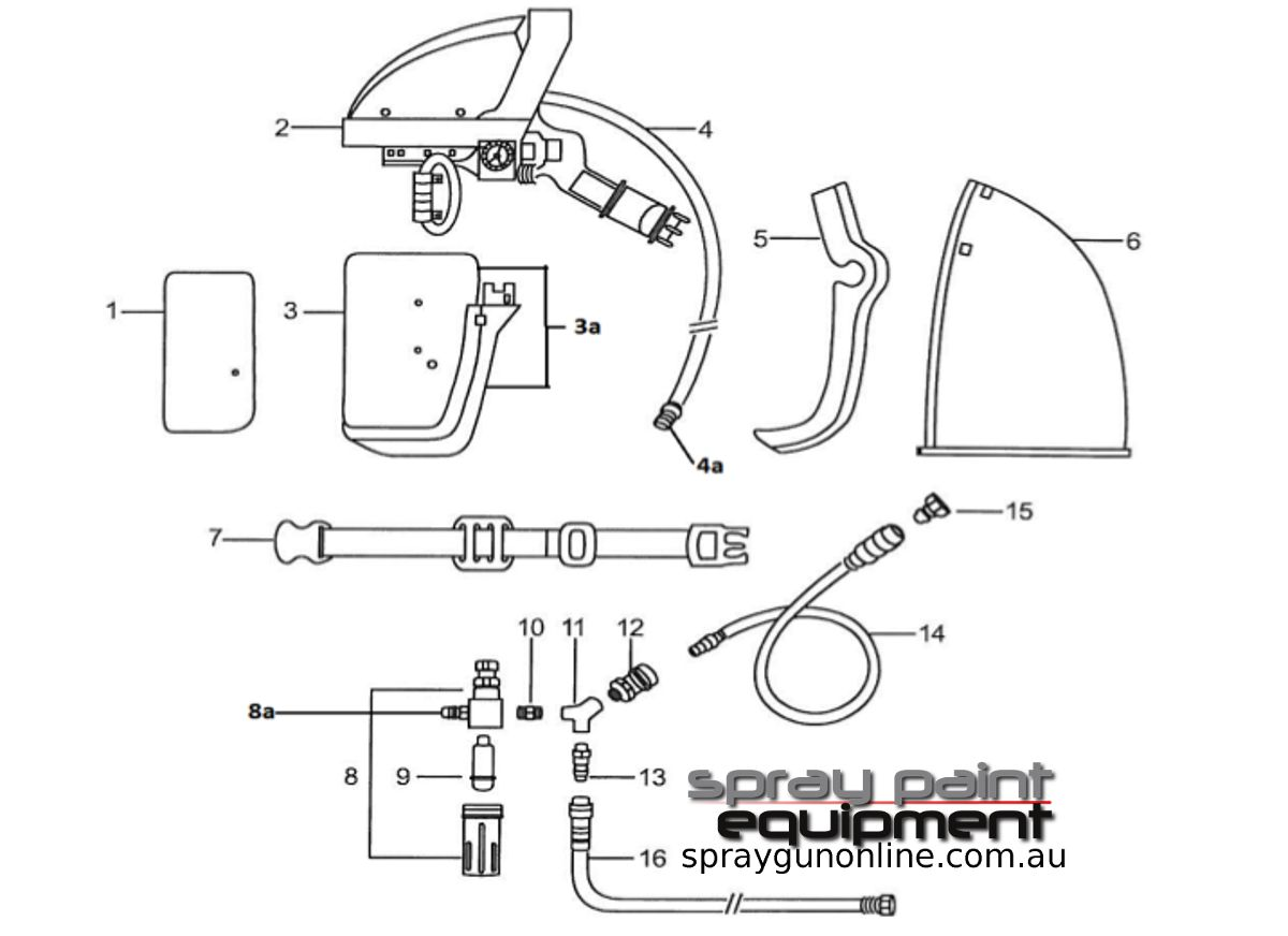 Spare parts schematic for the Anest Iwata AF2100 Airfed Mask Kit