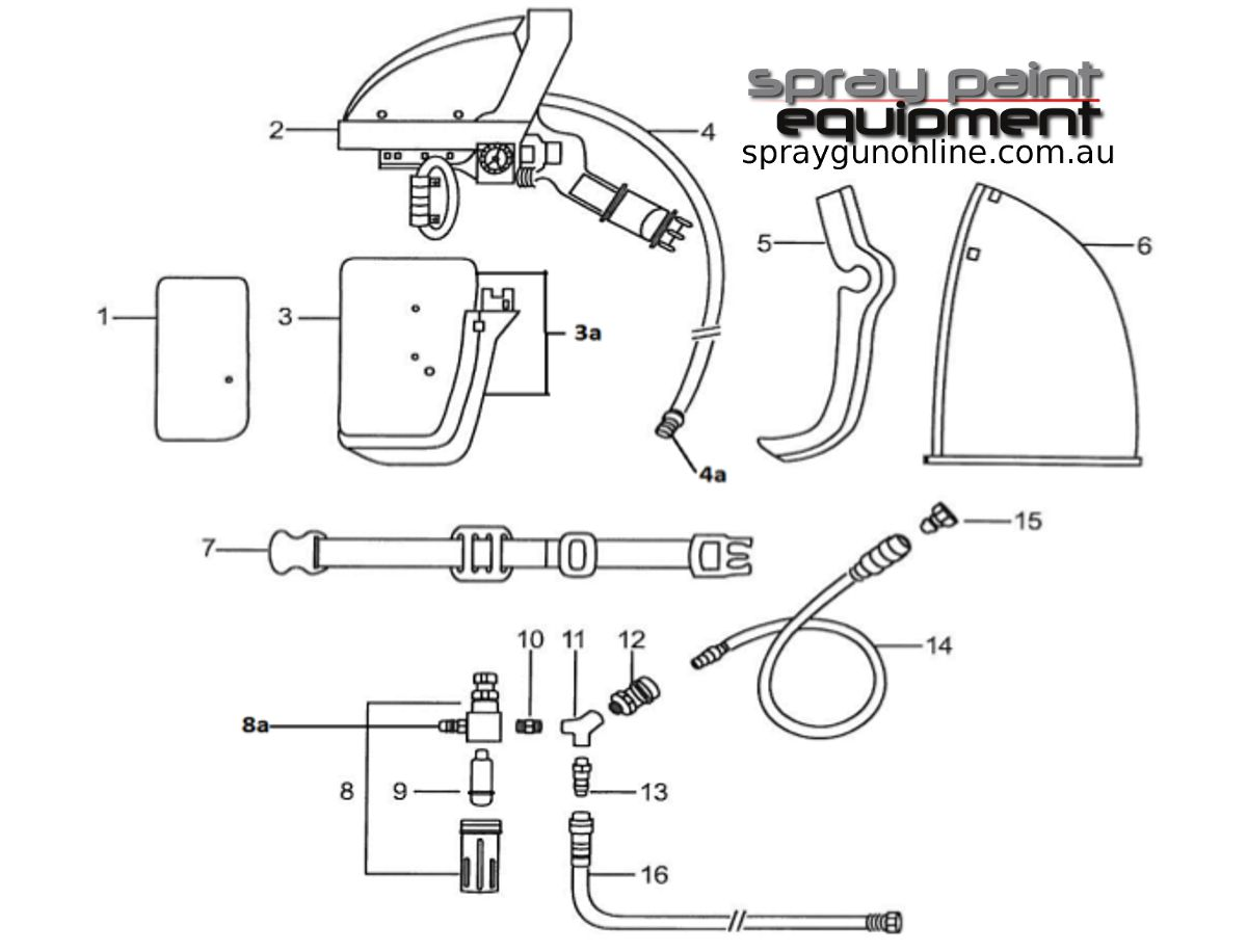 Spare parts schematic for the Anest Iwata AF2109 Airfed Mask Kit