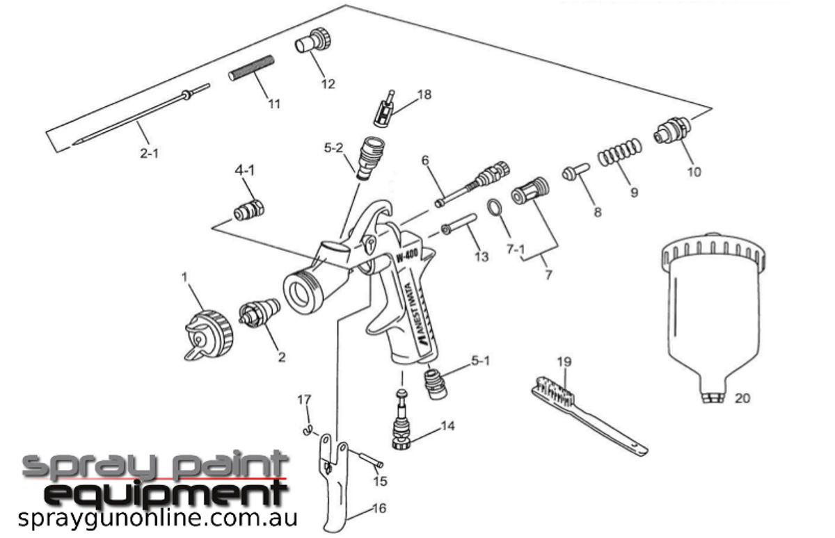Spare parts schematic for Anest Iwata LPH400LV HVLP Gravity Spray guns
