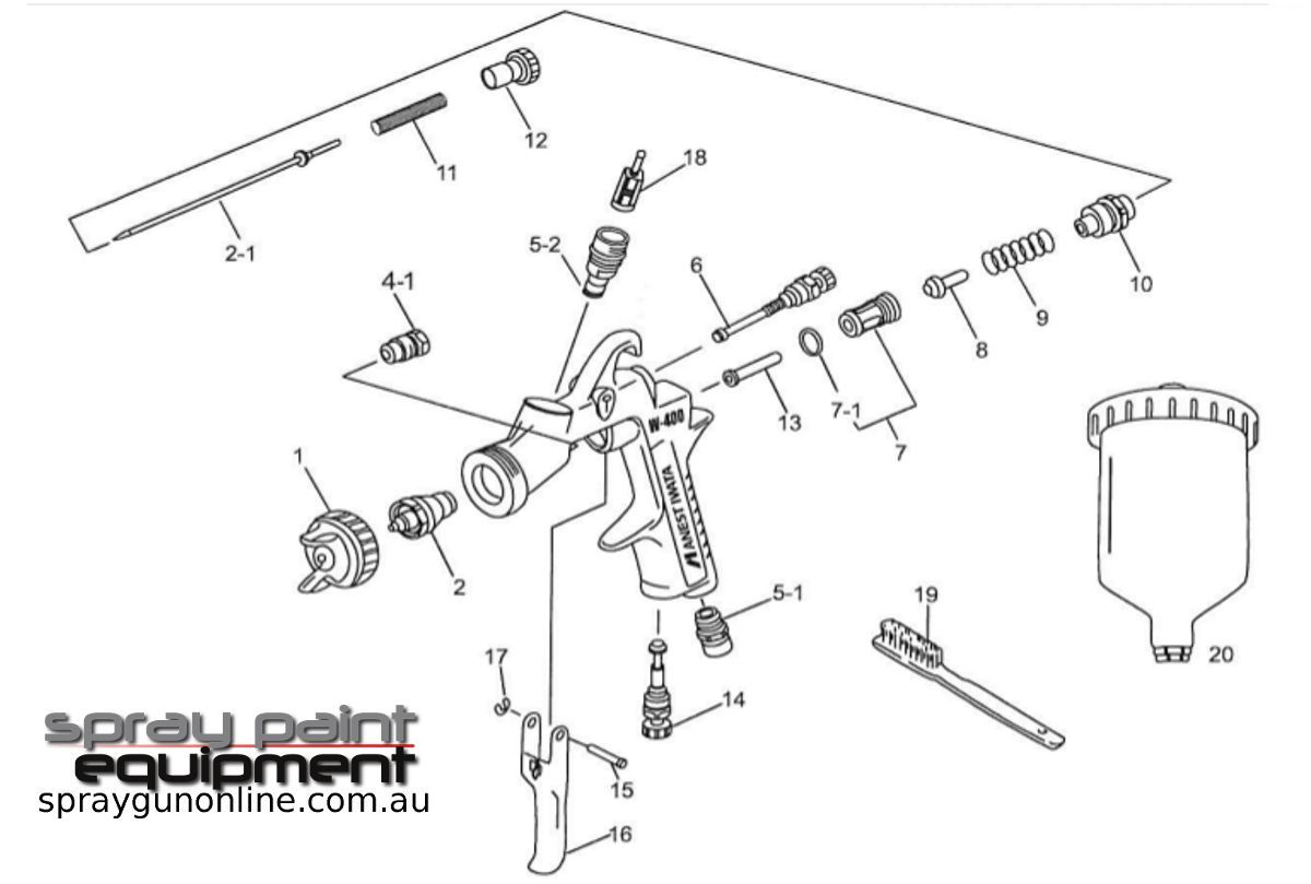 Spare parts schematic for Anest Iwata LPH400LVB HVLP Gravity Spray guns