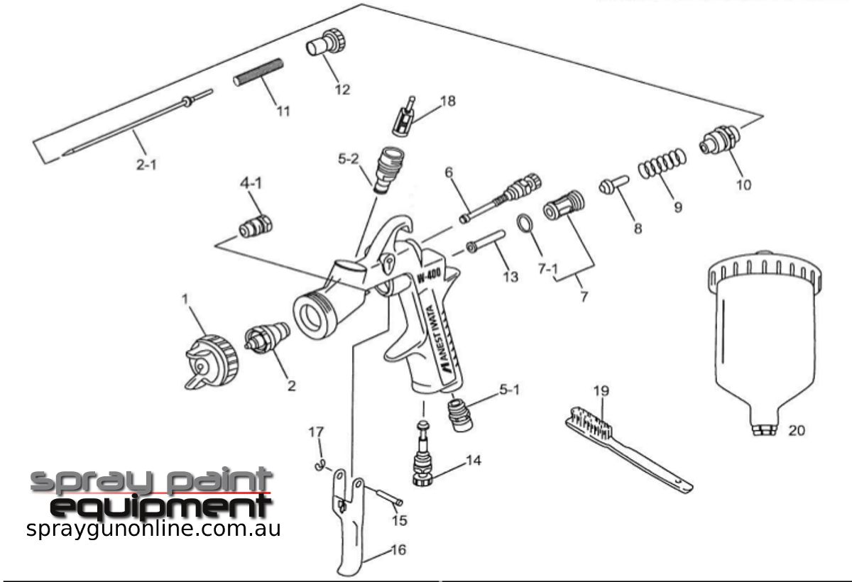 Spare parts schematic for Anest Iwata LPH400LVX HVLP Gravity Spray guns
