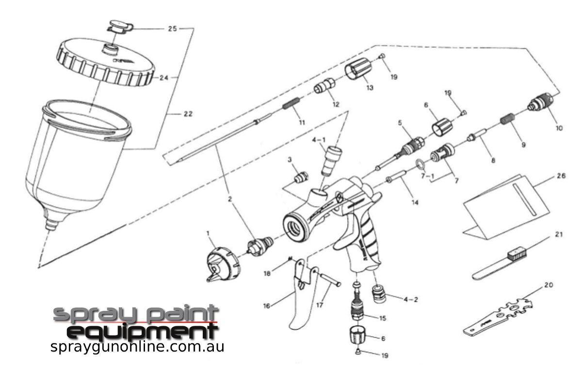 Spare parts schematic for Anest Iwata LS400 ENTECH HVLP Gravity Spray guns