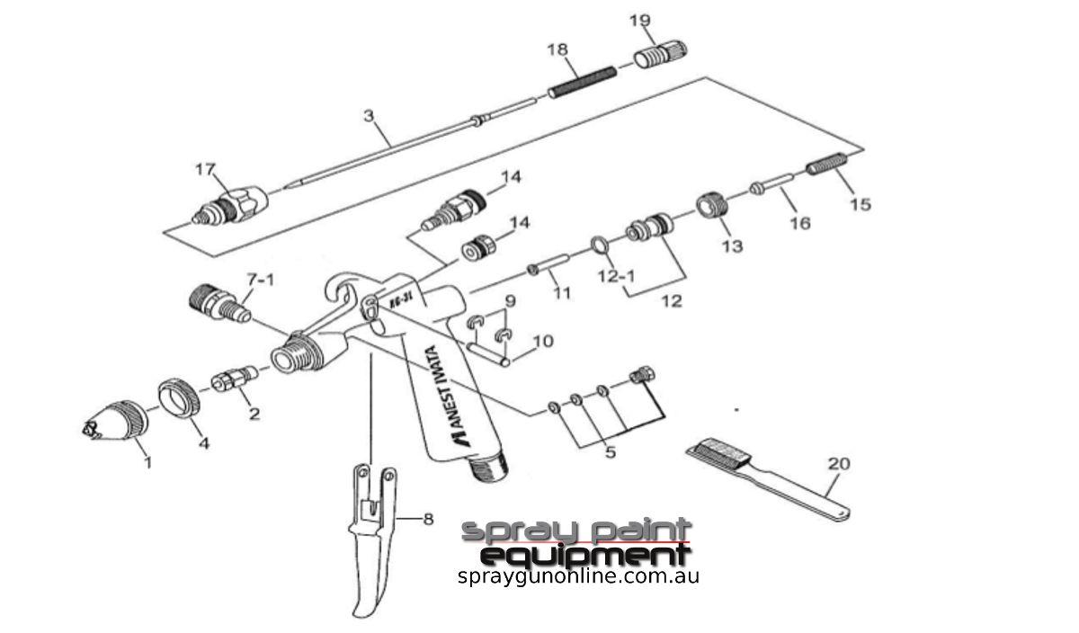 Spare parts schematic for Anest Iwata RG3L Gravity Spray Gun