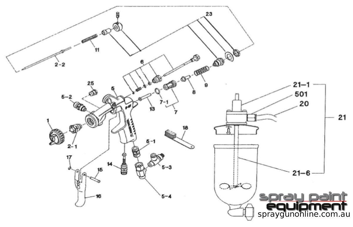Spare parts schematic for Anest Iwata W101 Agitator Gravity Spray Gun