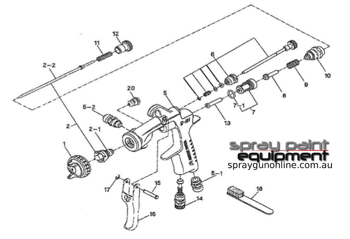 Spare parts schematic for Anest Iwata W101 Gravity Spray Gun