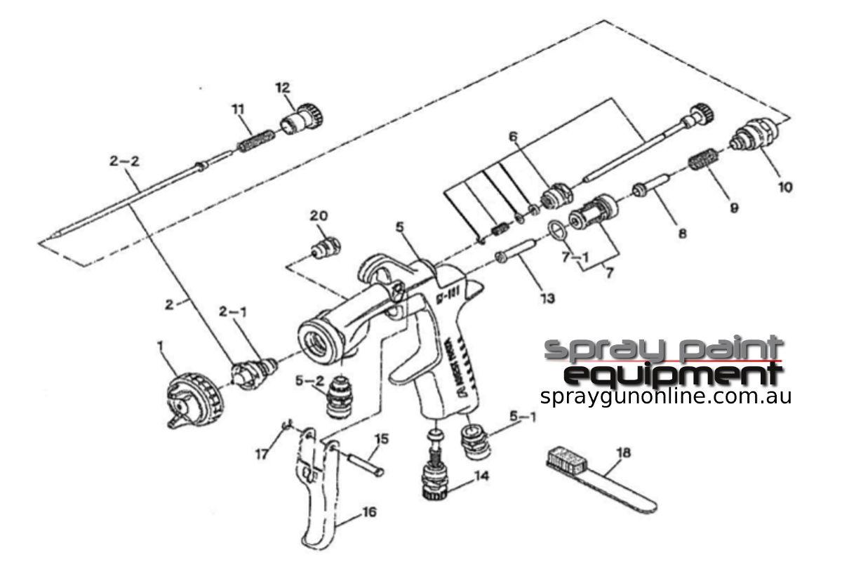 Spare parts schematic for Anest Iwata W101 Suction Spray Gun