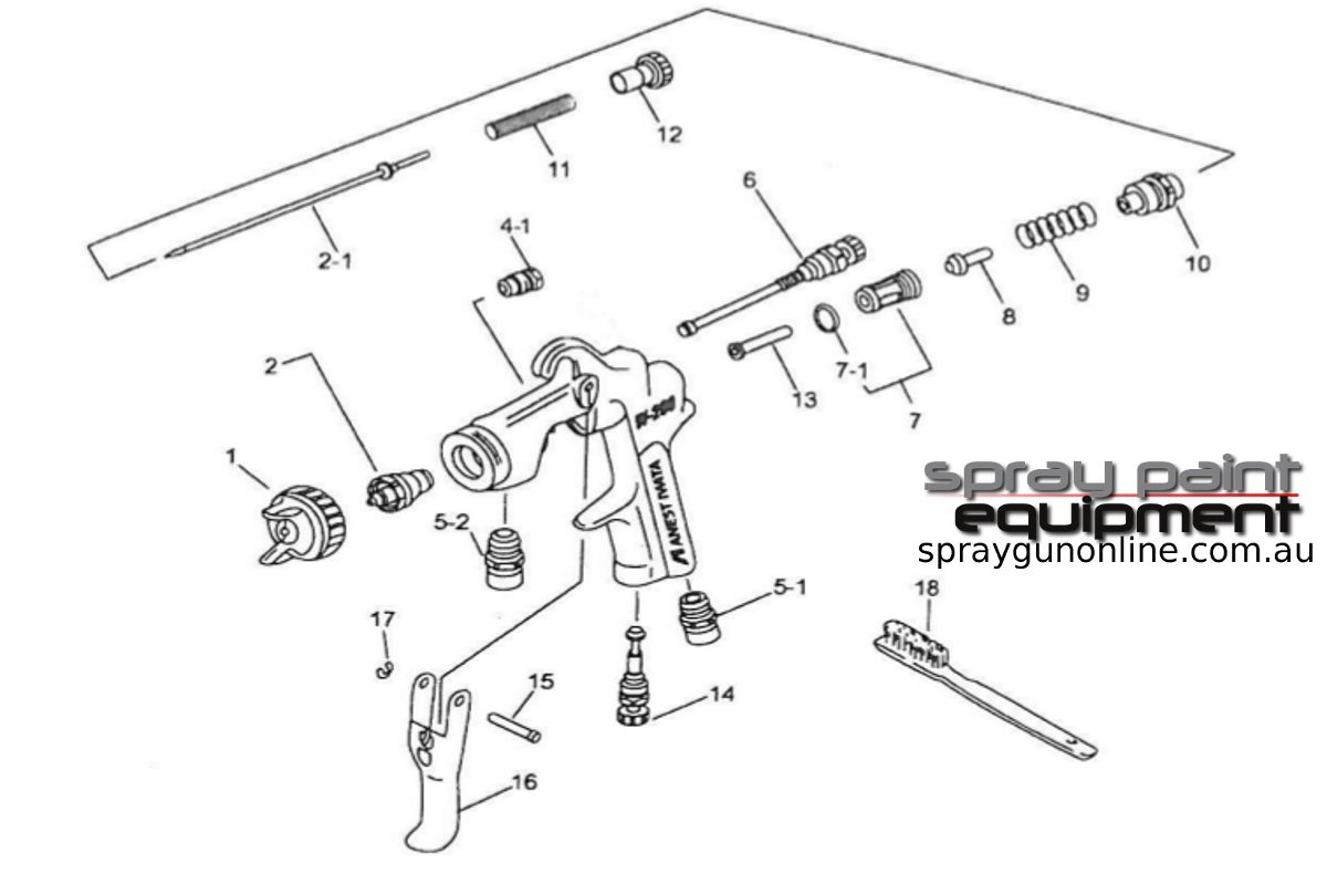 Spare parts schematic for Anest Iwata W200 Suction and Pressure Feed Spray Guns