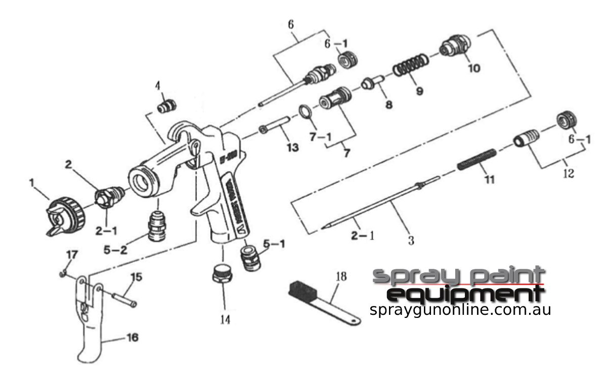 Spare parts schematic for Anest Iwata W200 Lockable Controls Pressure Feed Spray Guns