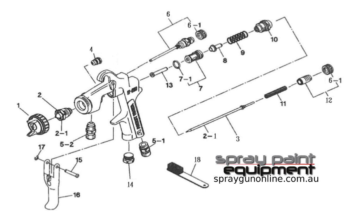 Spare parts schematic for Anest Iwata W200 Lockable Controls Pressure Feed Spray Guns