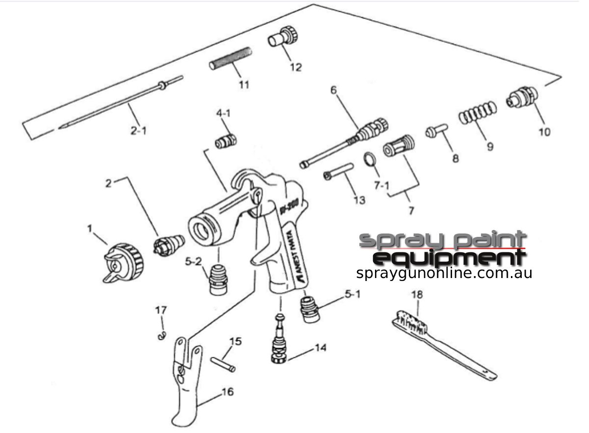 Spare parts schematic for Anest Iwata W200WB Pressure Feed Spray Guns