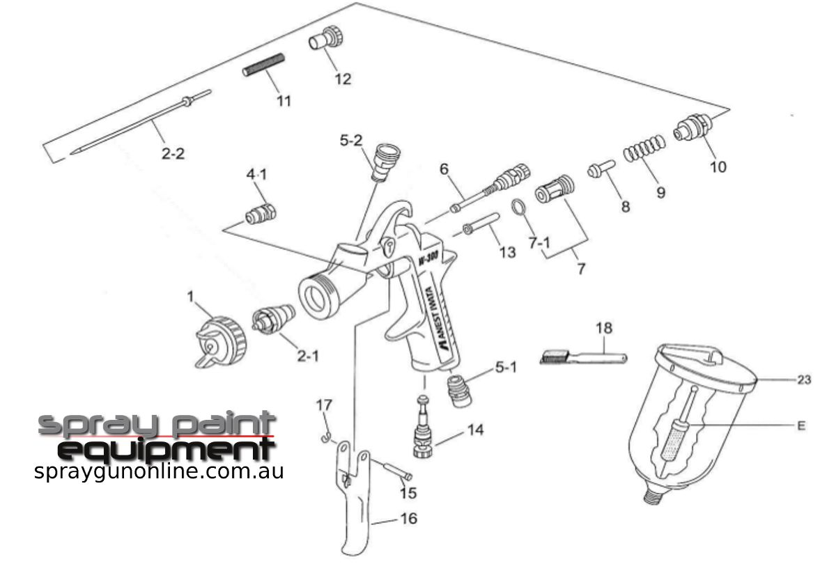 Spare parts schematic for Anest Iwata W300 gravity spray gun