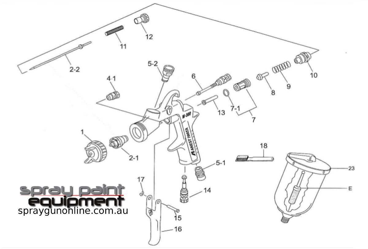 Spare parts schematic for Anest Iwata W300WPG Body Shop gravity spray gun
