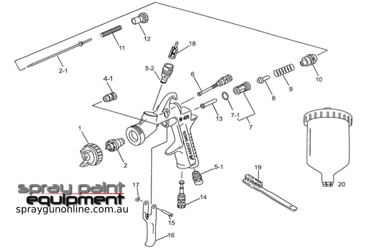 Spare parts schematic for Anest Iwata W400 Gravity Spray Gun