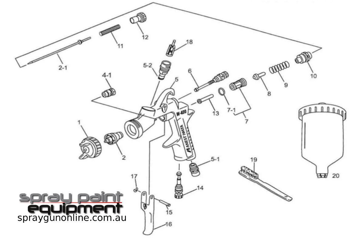 Spare parts schematic for Anest Iwata W400BA Bell Aria Gravity Spray Gun