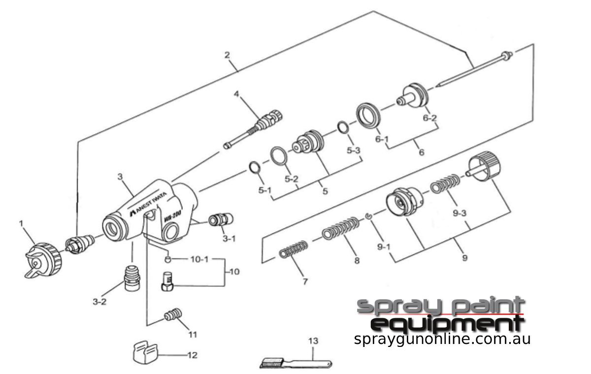 Spare parts schematic for Anest Iwata WA200 Automatic Spray Guns