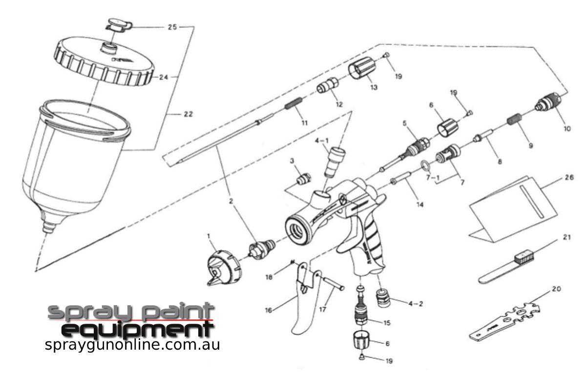 Spare parts schematic for Anest Iwata WS400 EVO Gravity Spray Gun