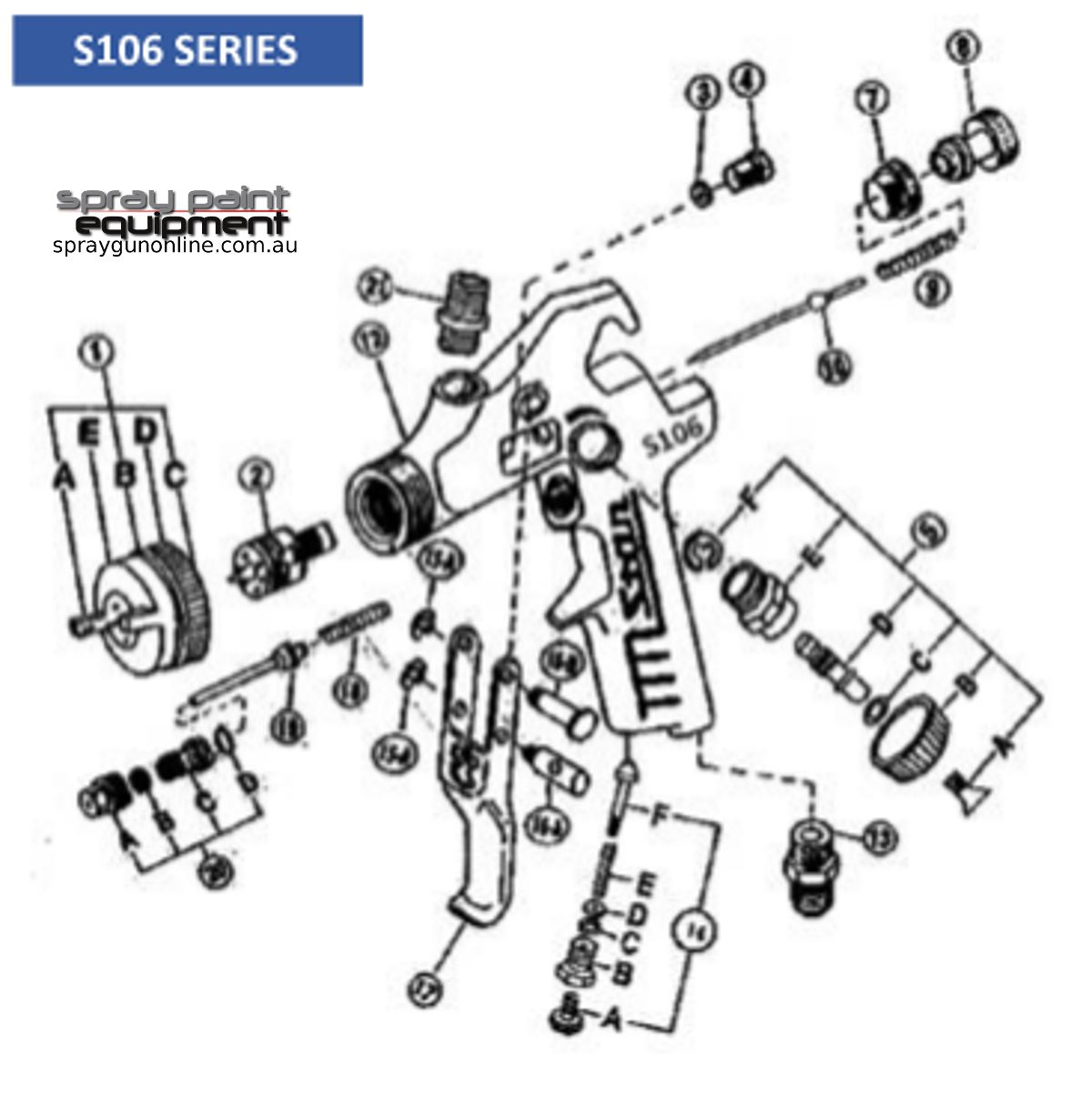 Spare parts schematic for Star S106 spray guns