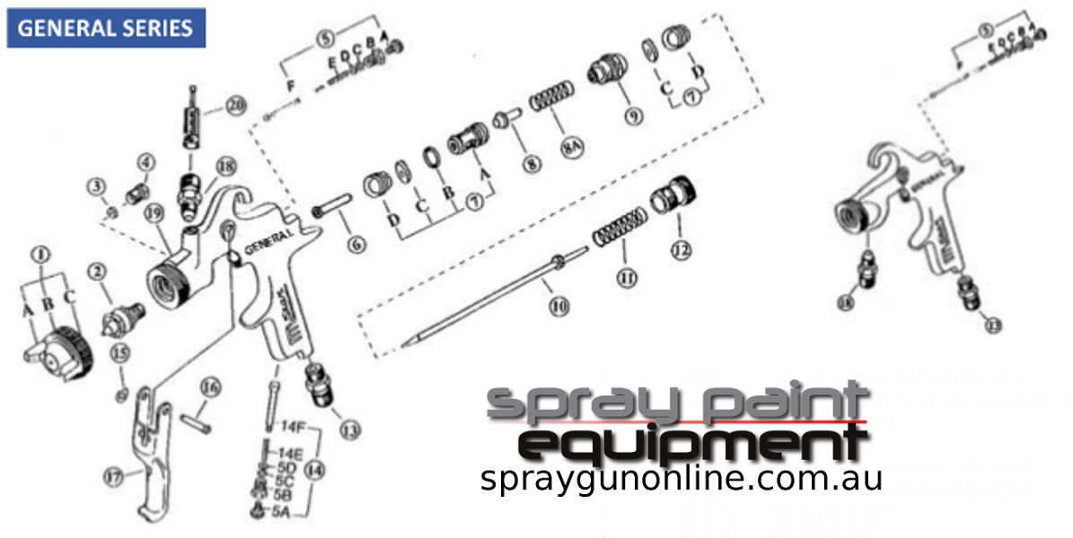 Spare parts drawing Star New Century SG2000 and SG4000 spray guns
