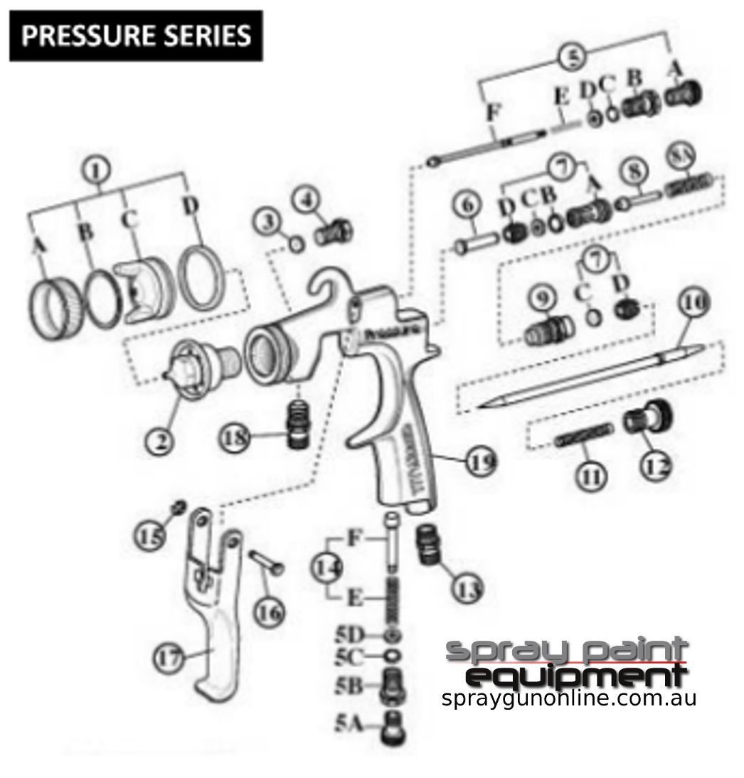 Spare parts schematic for Star New Century Series S1000F and S2000F spray guns