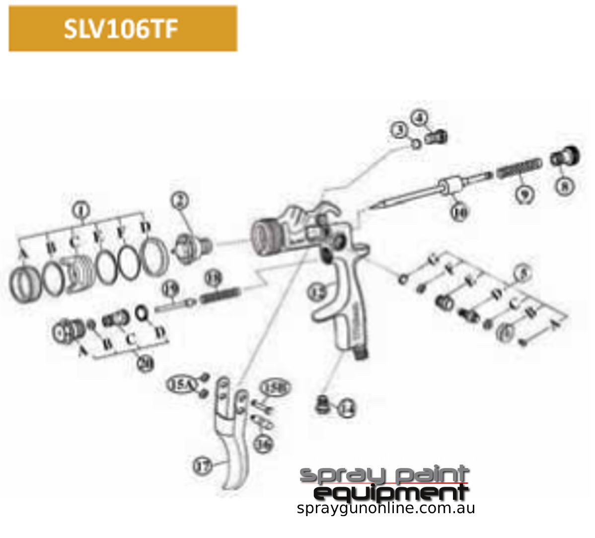 Spare parts schematic for Star SLV106TF Mini EVOT spray guns