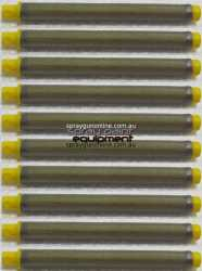 Ten pack of yellow 100 mesh push in airless spray gun filters