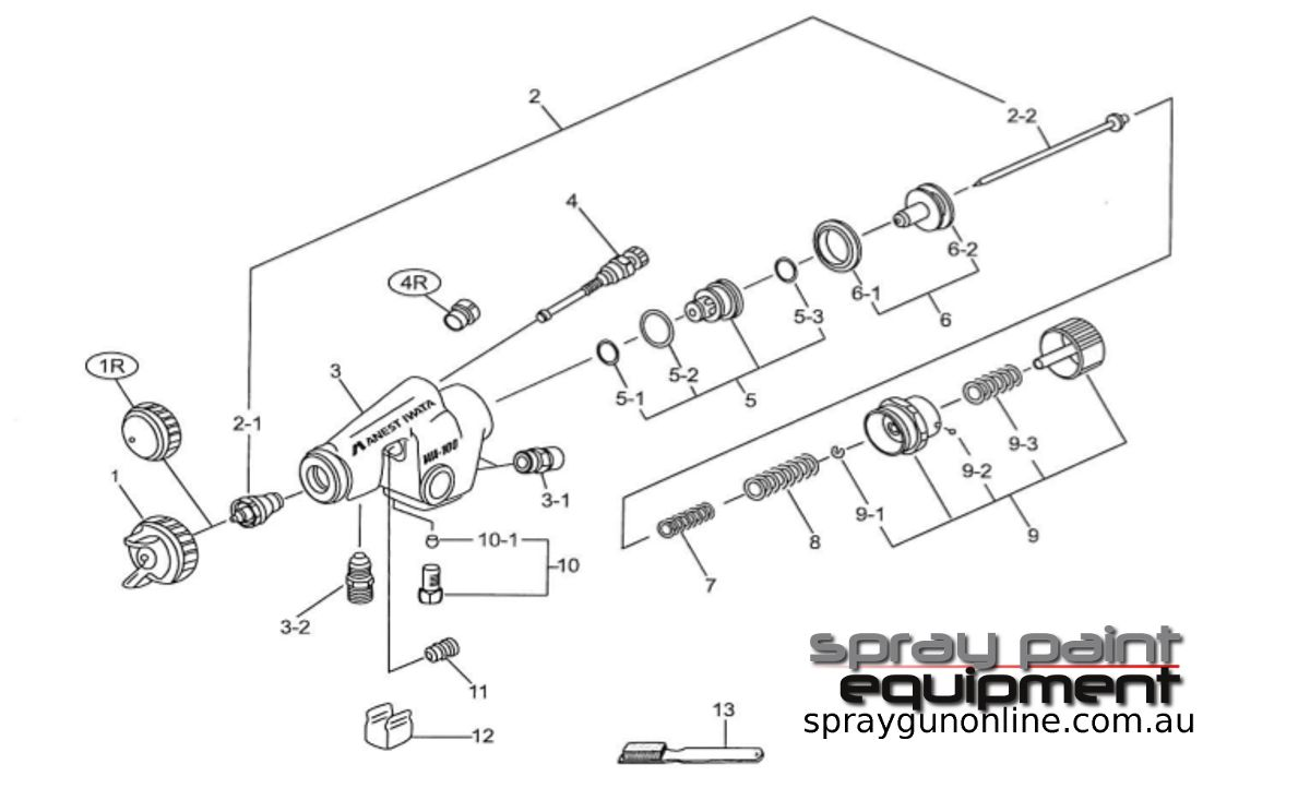 Spare parts schematic for Anest Iwata WA101 Automatic Spray Gun